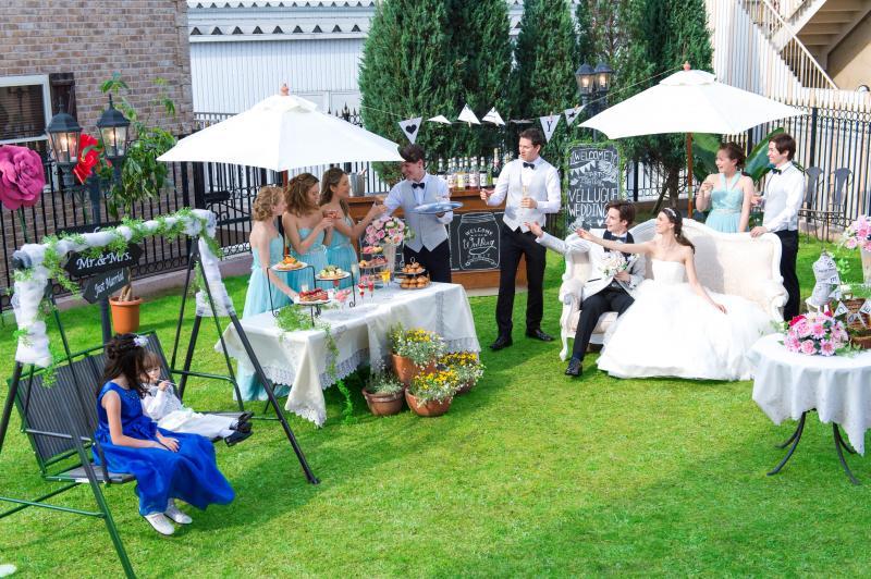 ガーデンでのウエルカムパーティもゲストとの大切な時間に。
