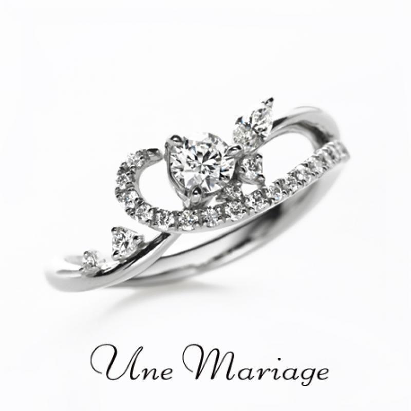 【Une Mariage】恋が永遠に変わる時…。世界で一番美しいあなたに… アンマリアージュのデザインは左手の薬指専用のデザインで、着けたときに「花嫁の手が一番美...