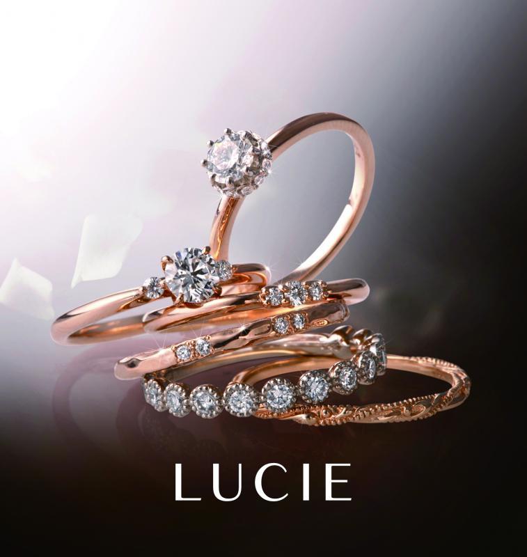 【LUCIE】 高いクオリティとデザイン性を重視されてつくられたリングたちは、優雅で女性らしい指元を演出。